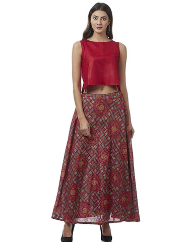 Red Rayon Skirt