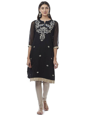 Black Embroidered Georgette Kurti