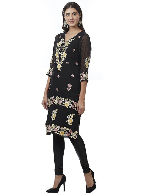 Black Embroidered Georgette Kurti - www.riafashions.com