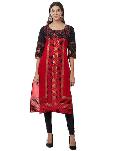 Readymade Red Printed Cotton Kurti
