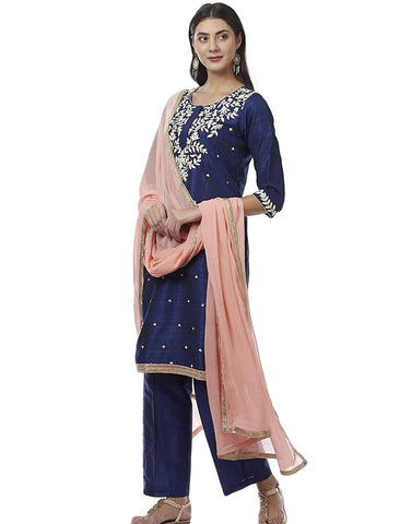 Navy Blue Embroidered Cotton Silk Kurti