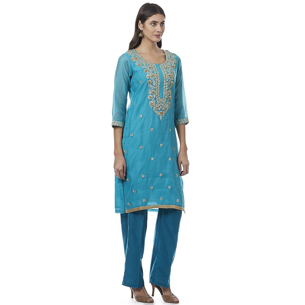 Blue Embroidered Cotton Silk Kurti