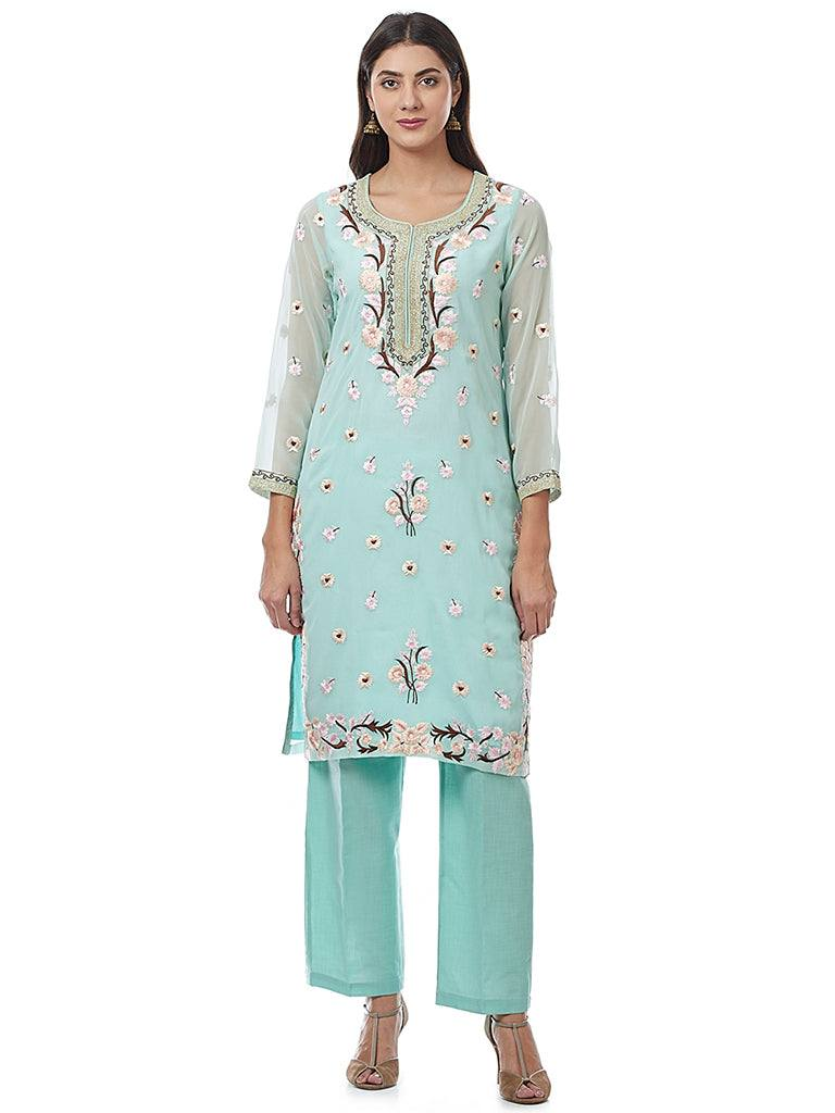 Light Blue Embroidered Georgette Kurti
