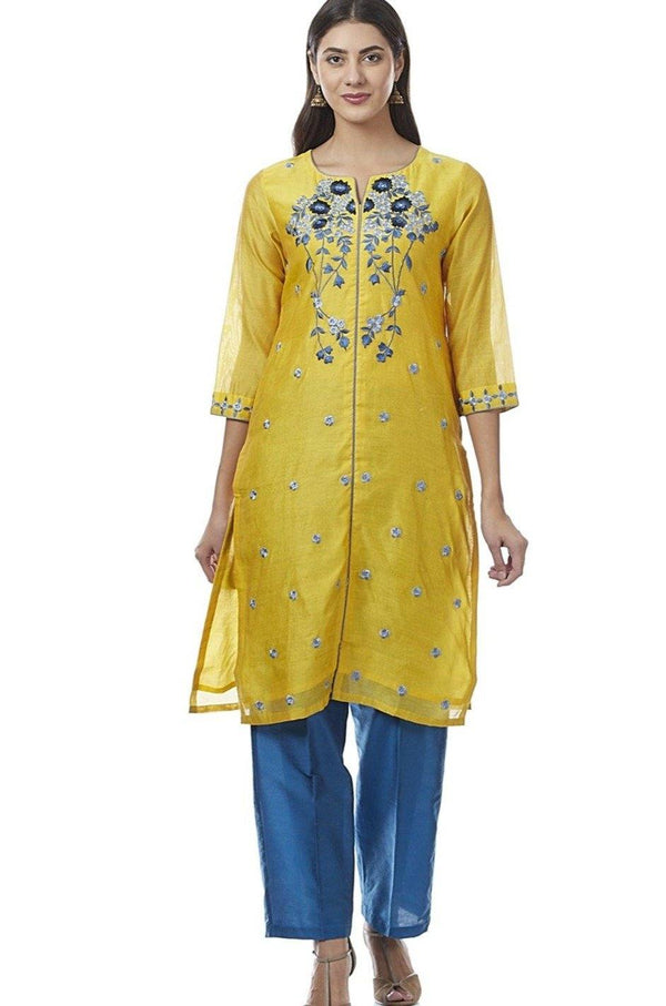 Readymade Yellow & Blue Embroidered Cotton Silk Palazzo Suit