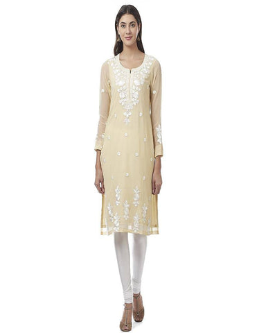 Cream Embroidered Georgette Kurti