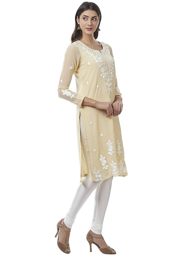Cream Embroidered Georgette Kurti - www.riafashions.com