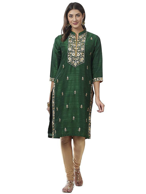 Ready Made Party Wear Dark Green Cotton Silk Zari Work Kurta