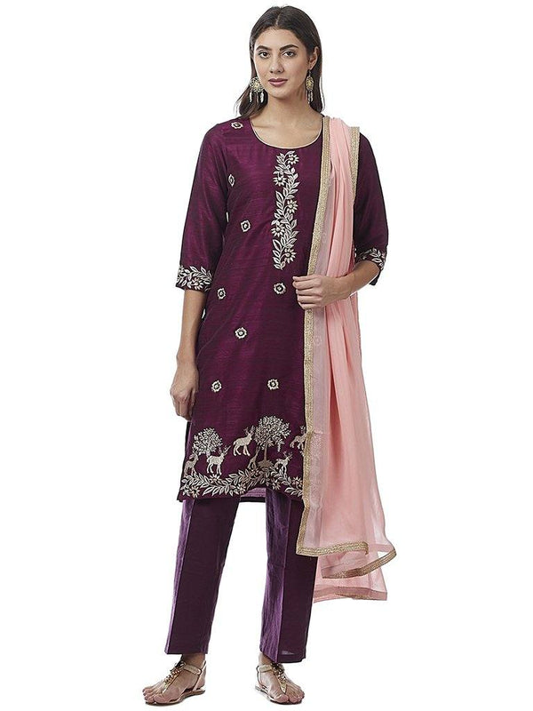 Ready Made Party Wear Purple Color Cotton Silk Zari Work Kurta