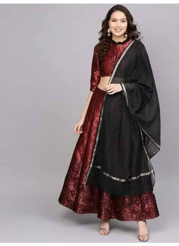 Refreshing Maroon Colour Brocade Lehenga