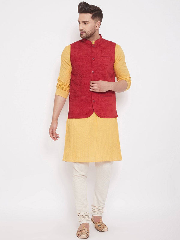 Red Linen Men's Sleeveless Nehru jacket