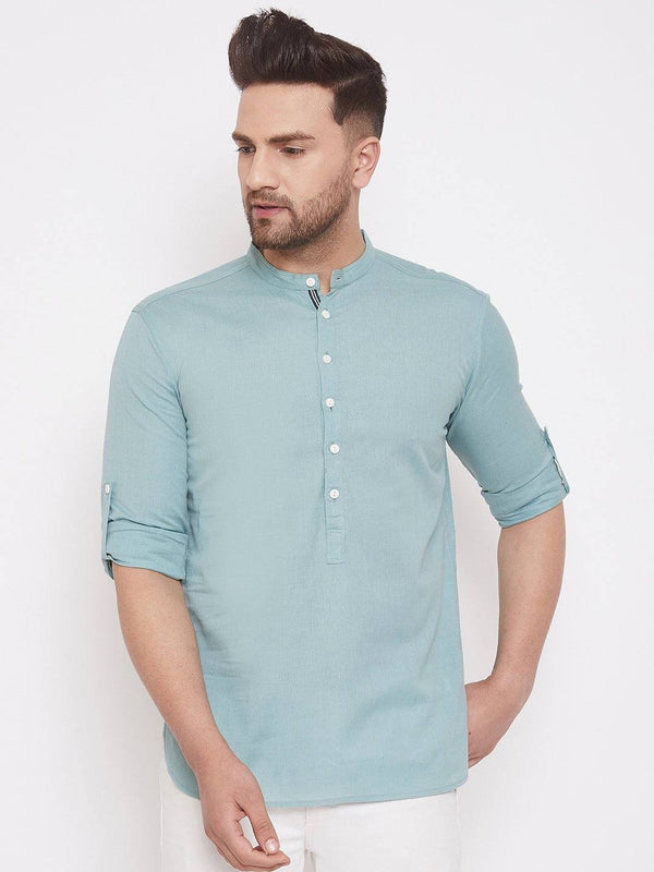 Green-Blue Cotton Men's Woven Design Straight Full Sleeves Kurta