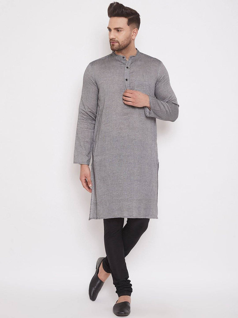 Grey Cotton Men's Woven Design Straight Full Sleeves Kurta - www.riafashions.com