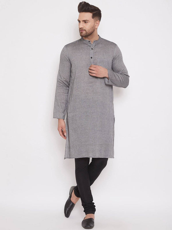 Grey Cotton Men's Woven Design Straight Full Sleeves Kurta