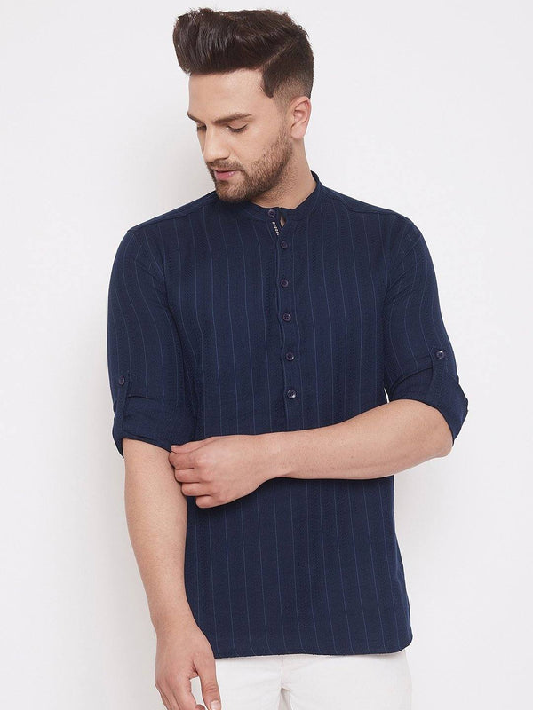 Navy Cotton Men's Woven Straight Full Sleeves Kurta