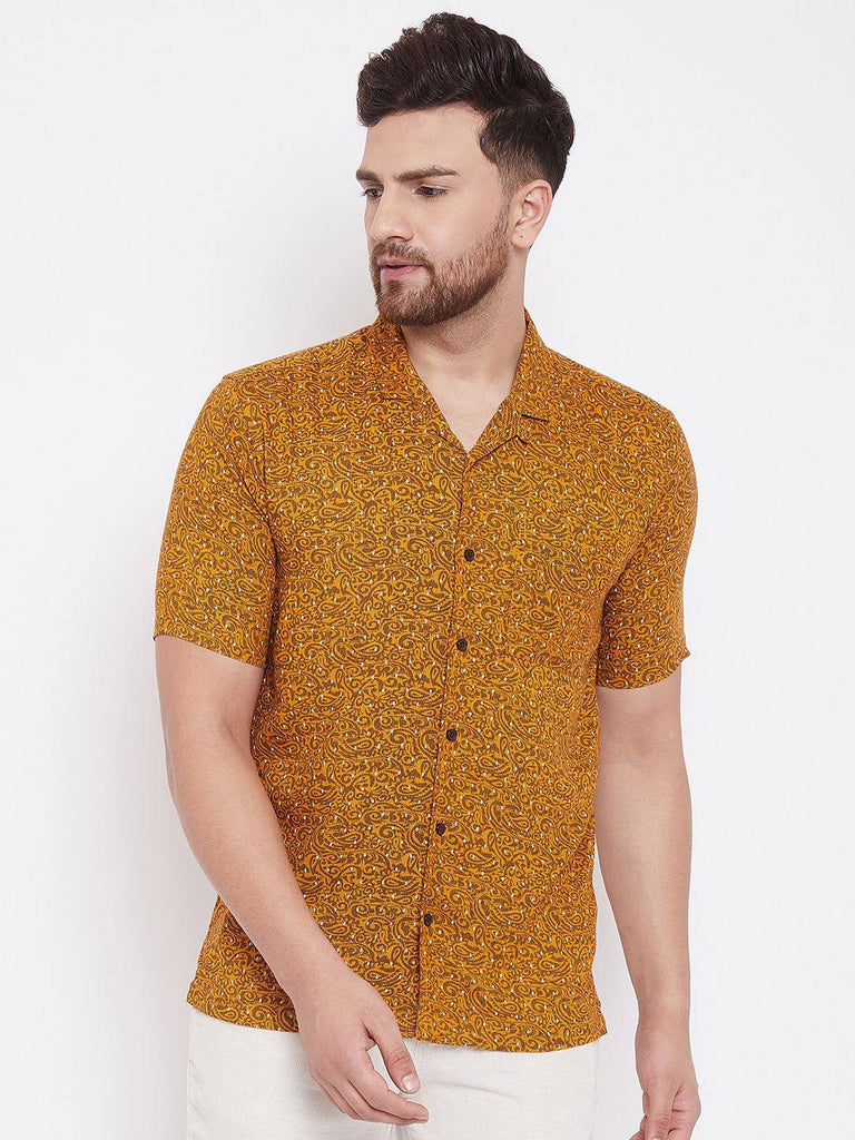 Orange Print Summer Casual Shirt - www.riafashions.com