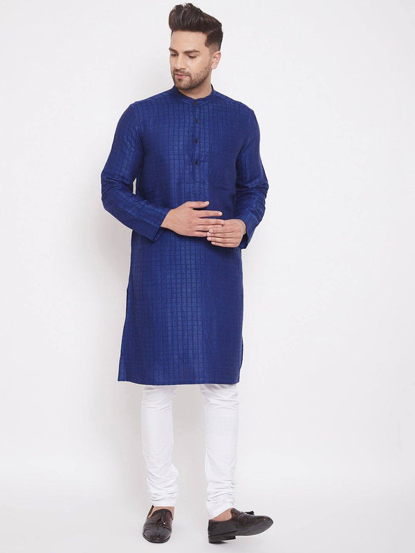 Blue Cotton Men's Woven Design Straight Kurta Full Sleeves