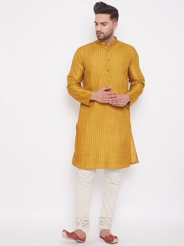 Gold Men's Art Silk Pintuck Kurta Full Sleeves