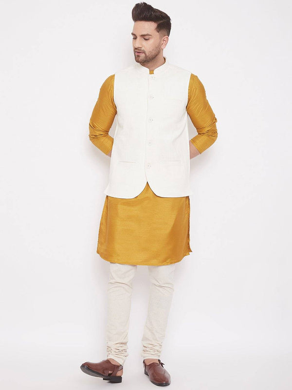 White Linen Men's Sleeveless Nehru jacket