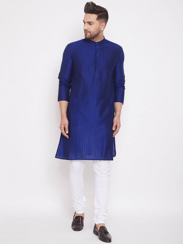 Blue Men's Art Silk Pintuck Kurta Full Sleeves