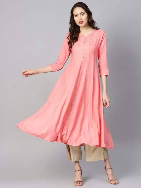 Jazzy Pink Colored Cotton Kurti