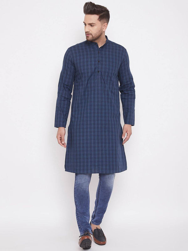 Blue Cotton Men's Woven Design Straight Full Sleeves Kurta