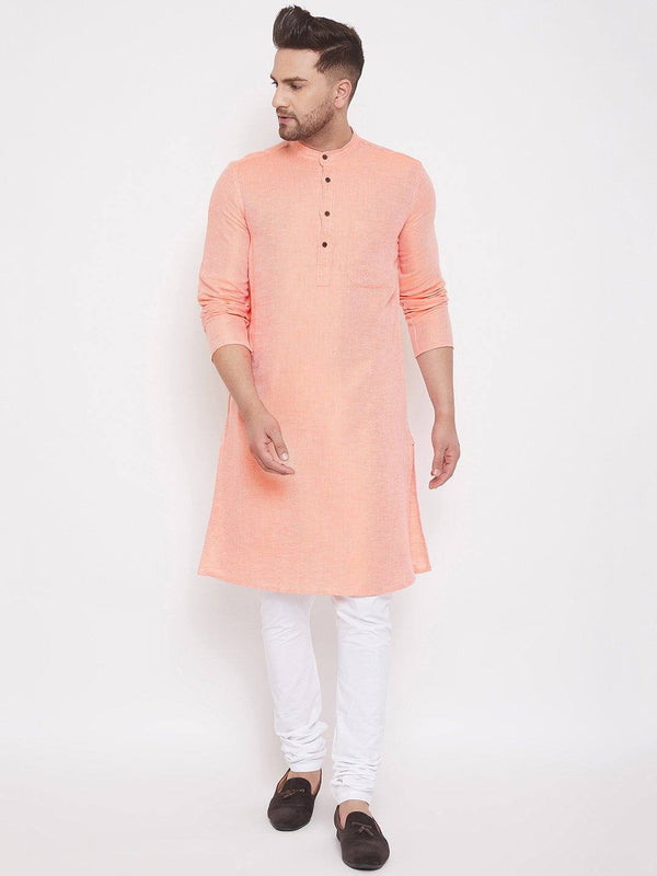 Peach Cotton Men's Woven Design Straight Kurta Full Sleeves