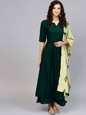 Exceptional Dark Green Colored Cotton Palazzo Set