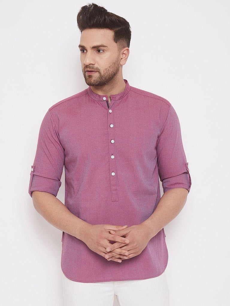 Purple Cotton Men's Woven Design Straight Full Sleeves Kurta - www.riafashions.com