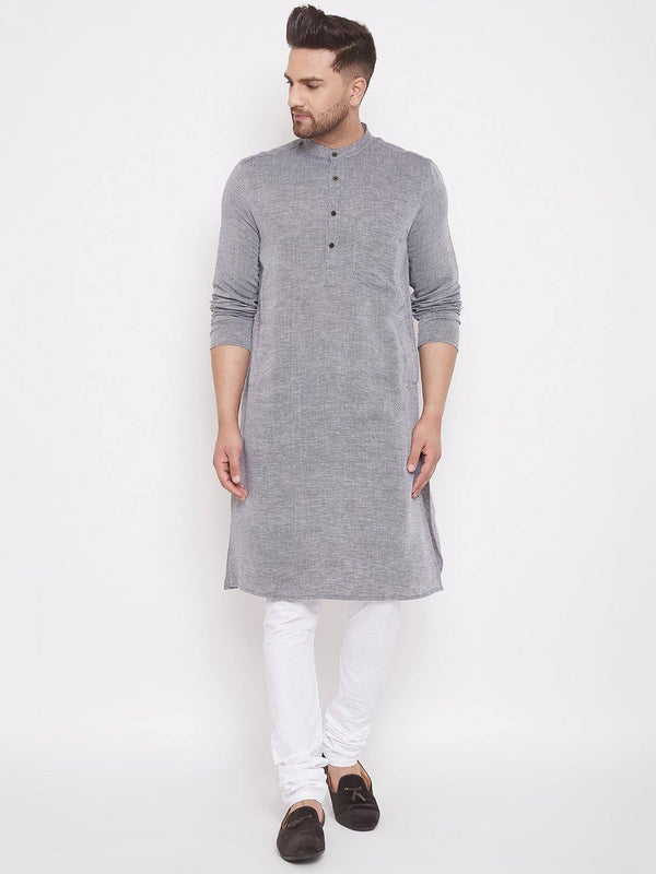 Grey Cotton Men's Woven Design Straight Kurta Full Sleeves