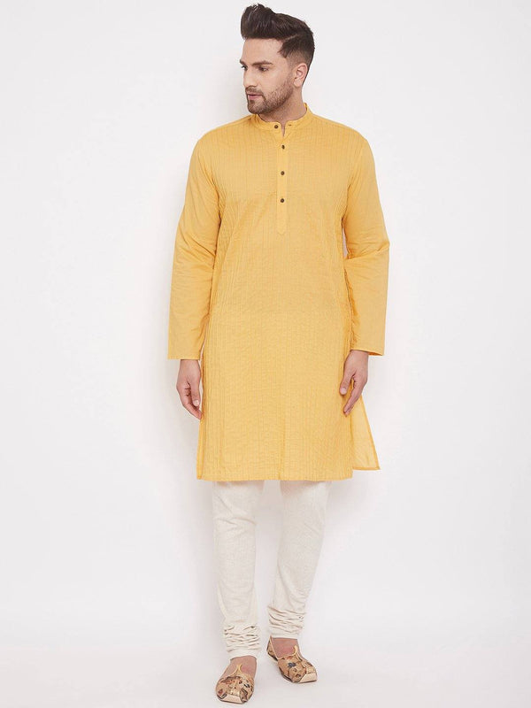 Yellow Men's Cotton Pintuck Kurta Full Sleeves