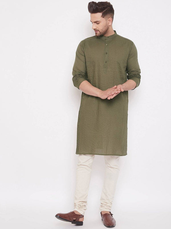 Green Men's Kurta Cotton Pintuck Full Sleeves