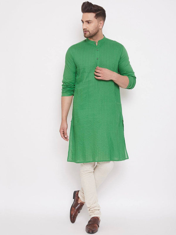Green Men's Cotton Pintuck Kurta Full Sleeves