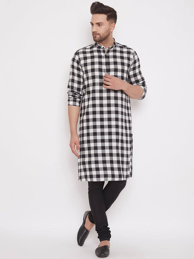Checkered Men's Cotton Full Sleeves Kurta