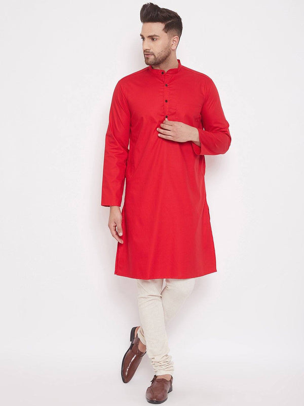 Red Cotton Men's Woven Design Straight Kurta Full Sleeves