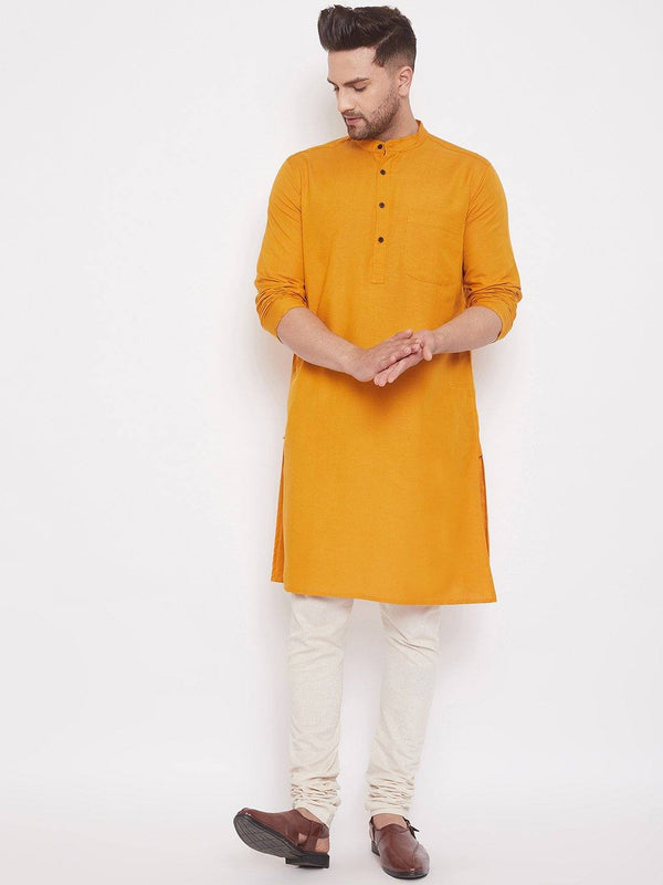 Orange Men's Cotton Pintuck Kurta Full Sleeves