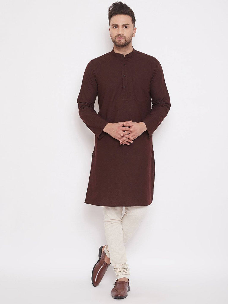 Brown Cotton Men's Wooven Straight Kurta Full Sleeves