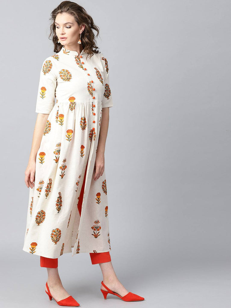 White Printed Cotton Kurti-www.riafashions.com