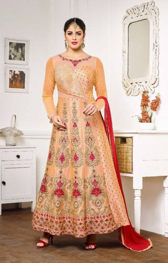 Golden embroidered PartyWear-www.riafashions.com