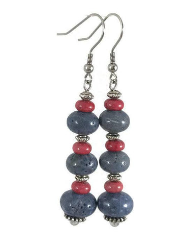 Blue Agate Drop Earrings-www.riafashions.com