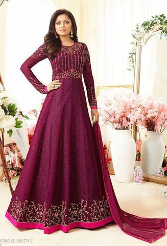 Magenta Embroidered Anarkali Suit-www.riafashions.com