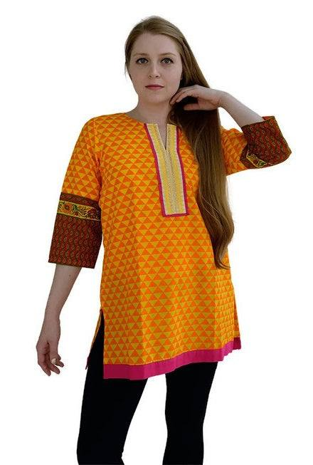 Yellow Printed Cotton Tunic-www.riafashions.com