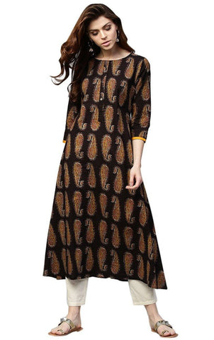 Brown Printed Cotton Kurti-www.riafashions.com