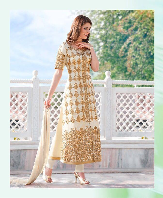 White & Cream Colour Make to Order Salwar Suit