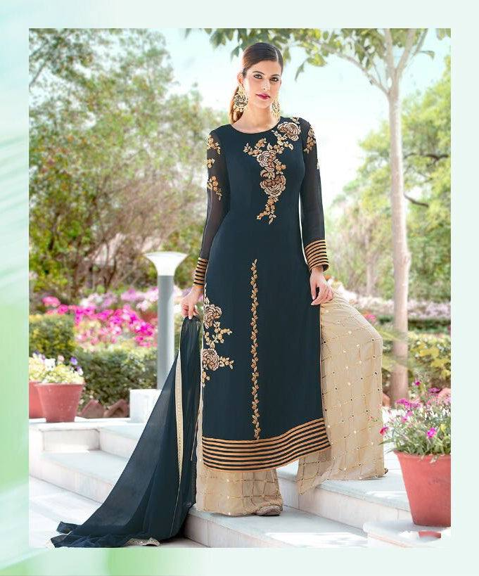 Prussian Blue Colour Make to Order Salwar Suit