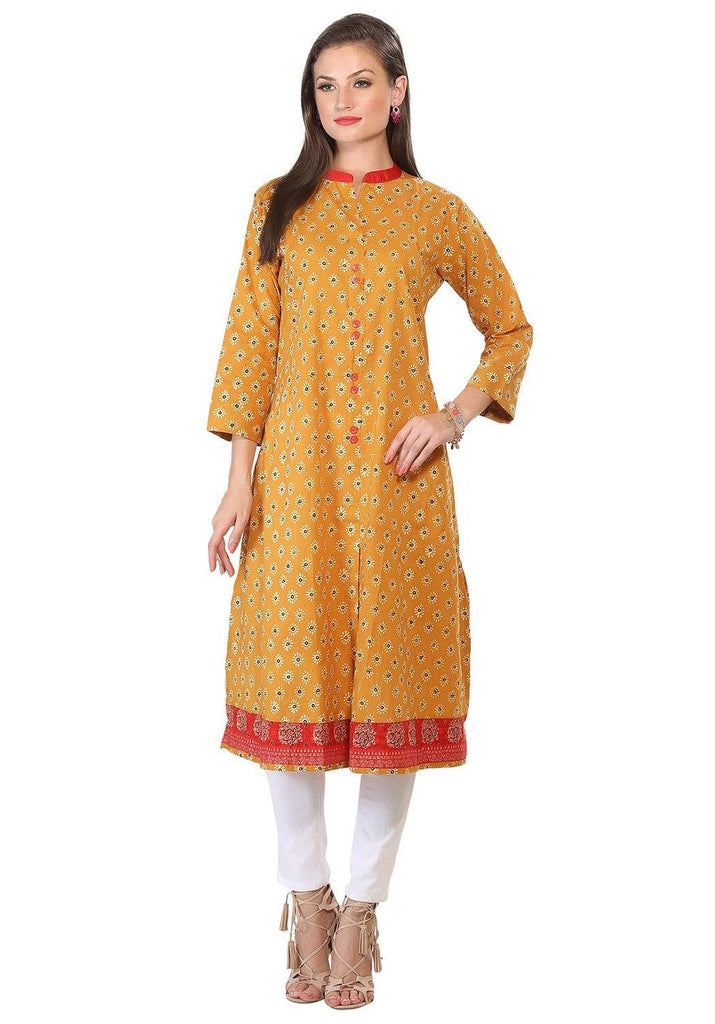 Mustard Color Printed Cotton Kurta-www.riafashions.com