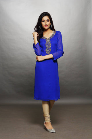 Blue Georgette Tunic