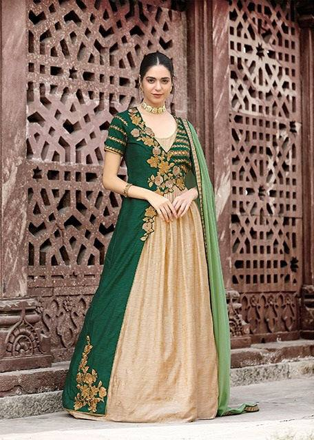 Green & Cream Colour Make to Order Salwar Suit