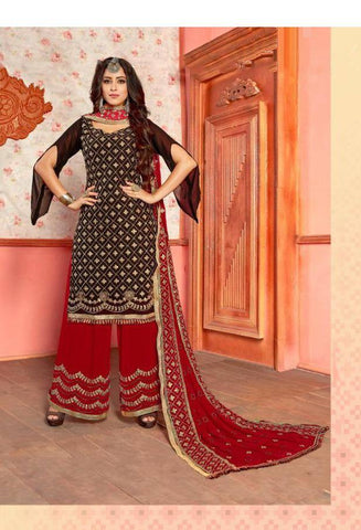 Black & Red Colour Make to Order Plazzo Suit Set