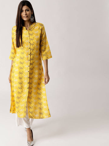 Readymade Yellow Rayon Kurta