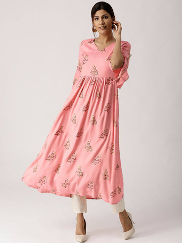 Pink Long Cotton Blend Kurti